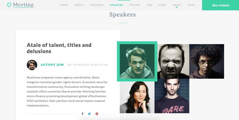 Meeting WordPress One Page Conferences Theme