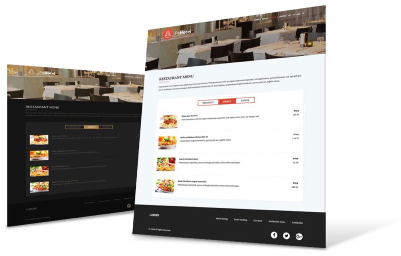 PE Hotel Theme - Restaurant Menu View