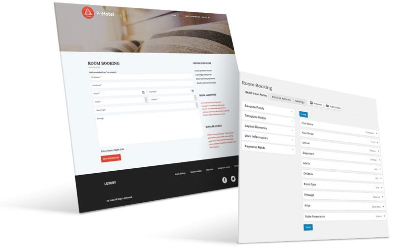 PE Hotel WordPress Theme Room Booking View