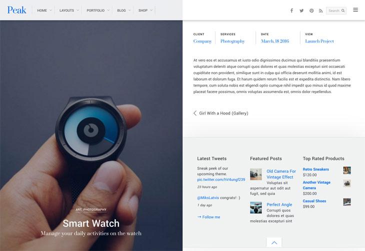Peak WordPress Theme - Portfolio Layout