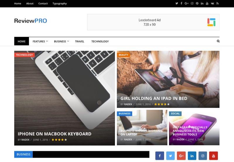 ReviewPro WordPress Drag & Drop Magazine Review Theme