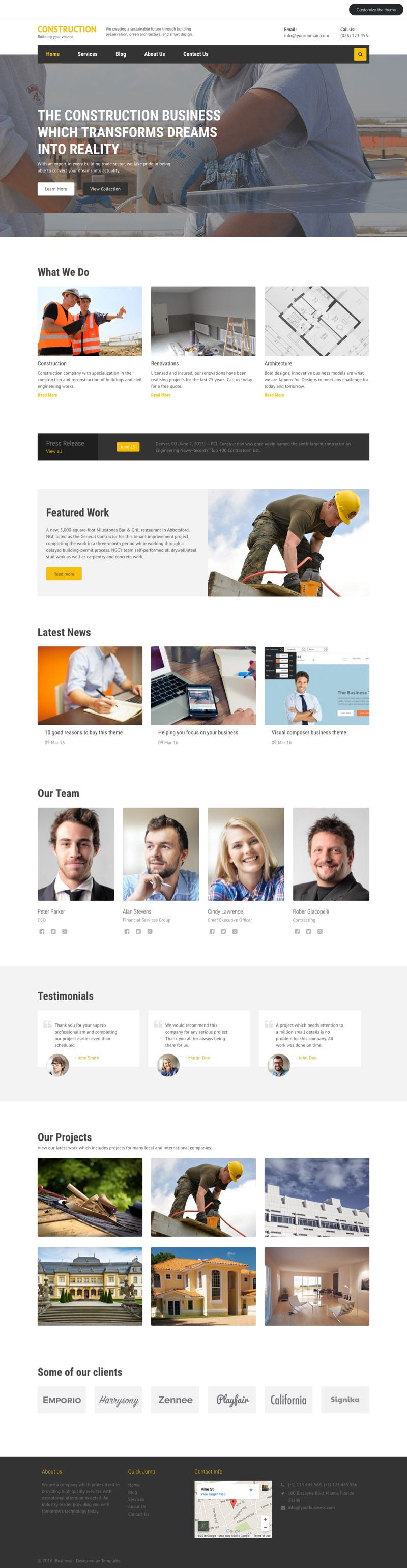 The Construction WordPress Real Estate Builders Theme