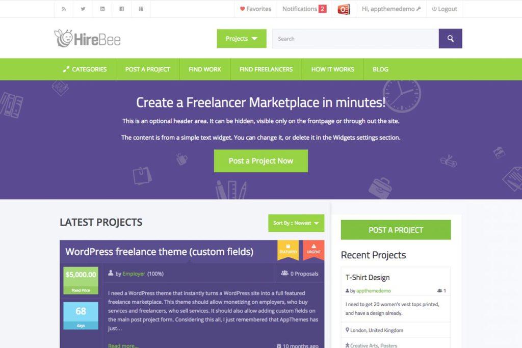 HireBee freelance marketplace theme for WordPress