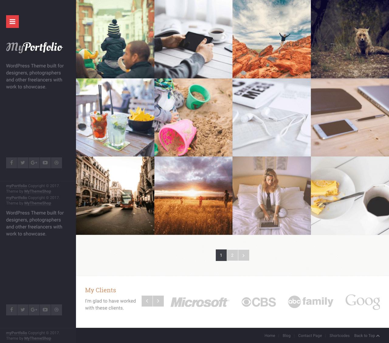 myPortfolio WordPress Portfolio Theme