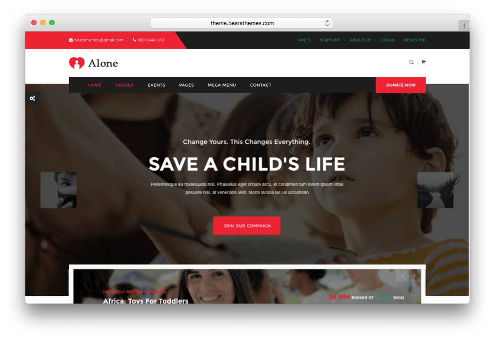 Alone Charity Multipurpose Non-profit WordPress Theme