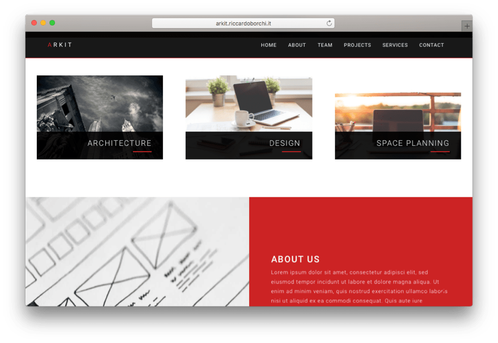 Arkit One Page WordPress Theme