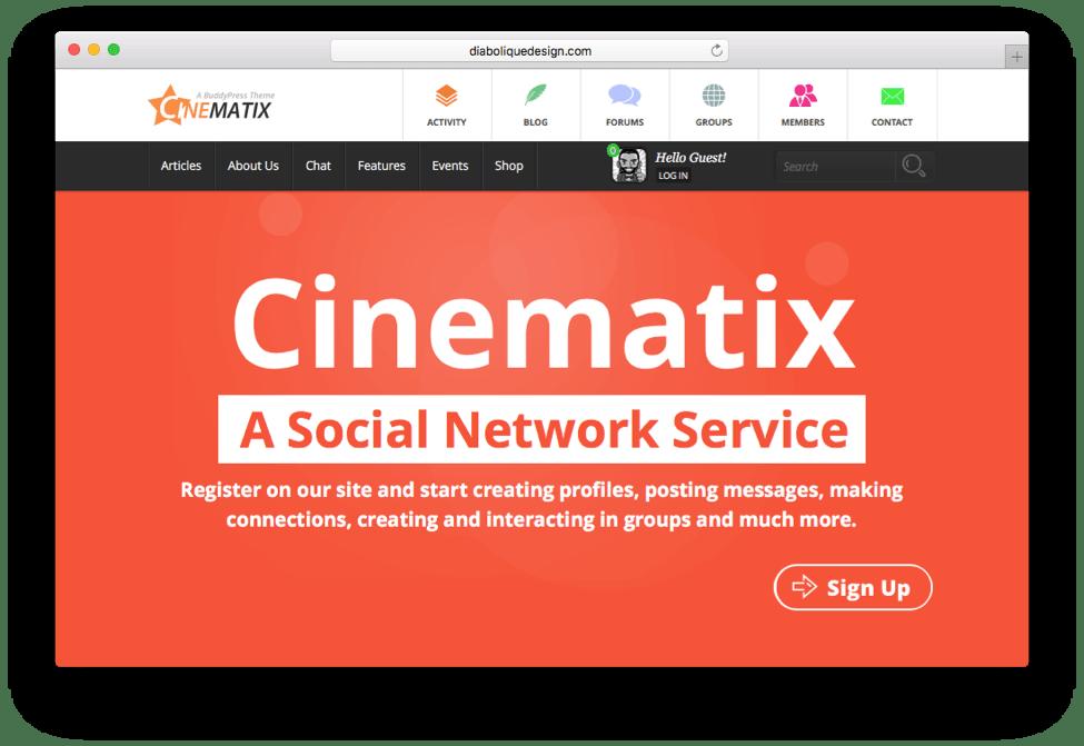 Cinematix Social Network Service Theme
