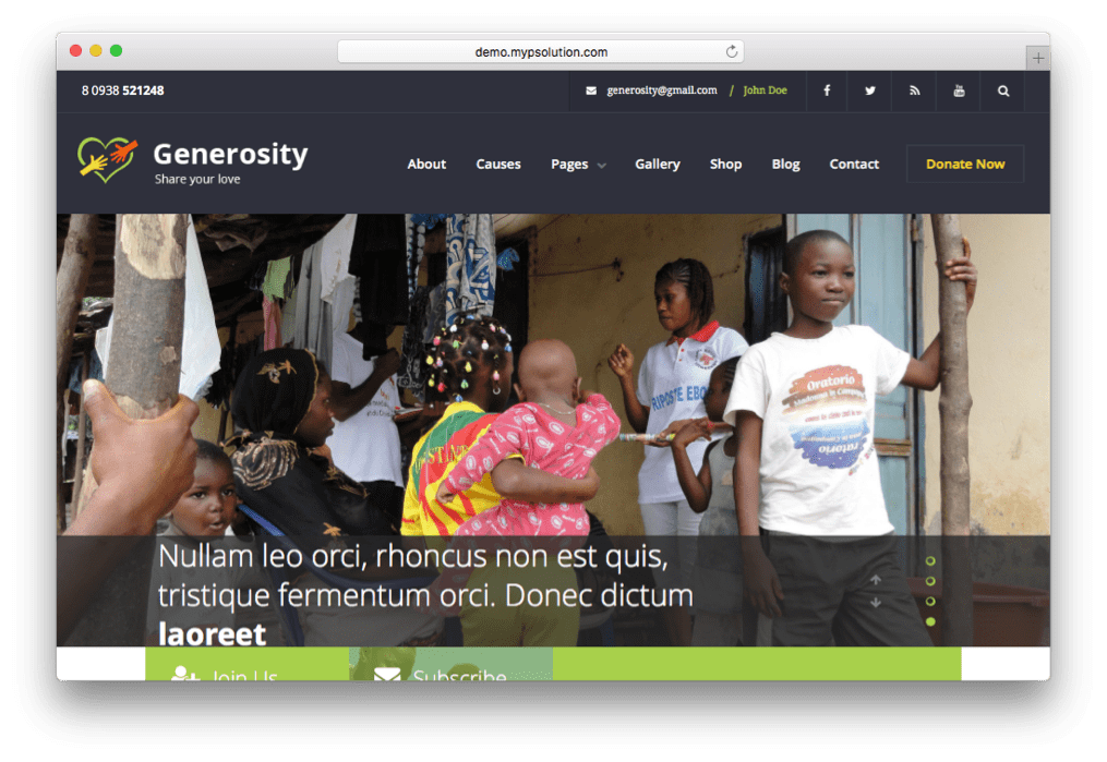 Generosity Charity Non-profit WordPress Theme