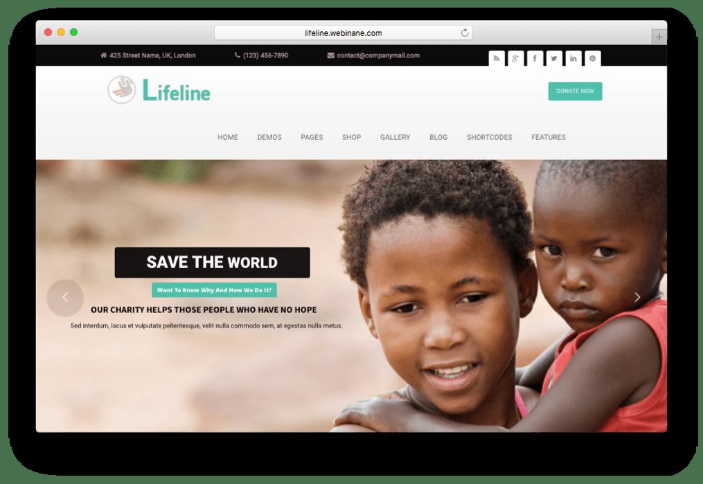 Lifeline NGO Charity Fund Raising WordPress Theme