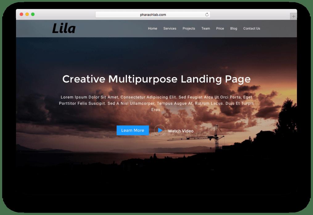 Lila One Page WordPress Theme