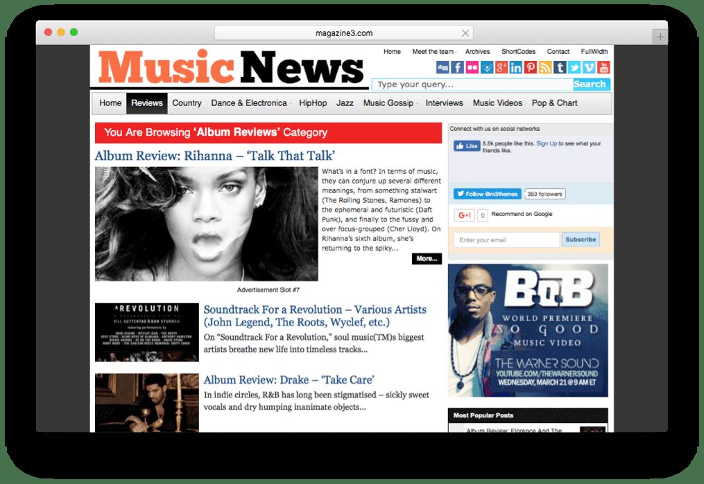 MusicNews WordPress Magazine Theme