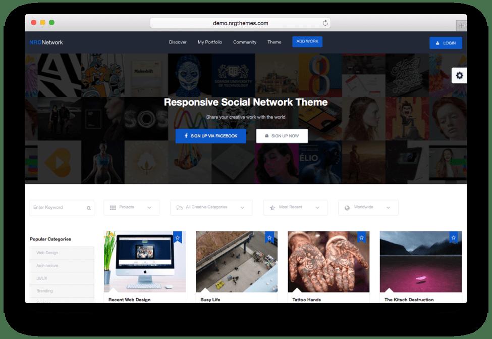 NRG Network Social Network WordPress Theme