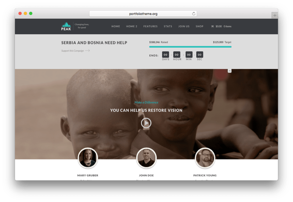 Peak - Charity Nonprofit WordPress Theme