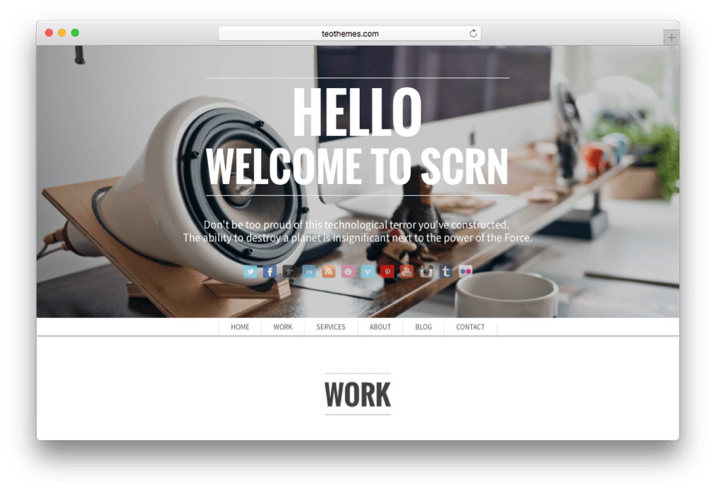 SCRN One Page or Single Page Portfolio Theme