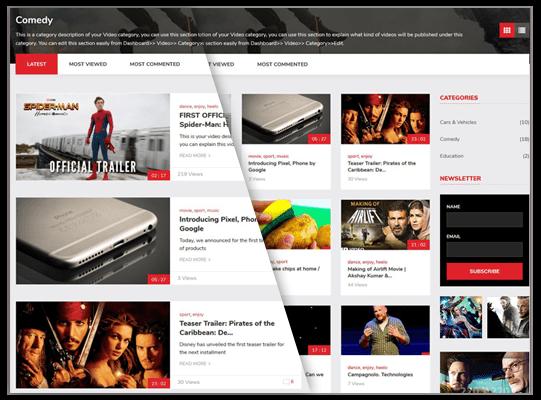 Showcase Videos in Grid List View