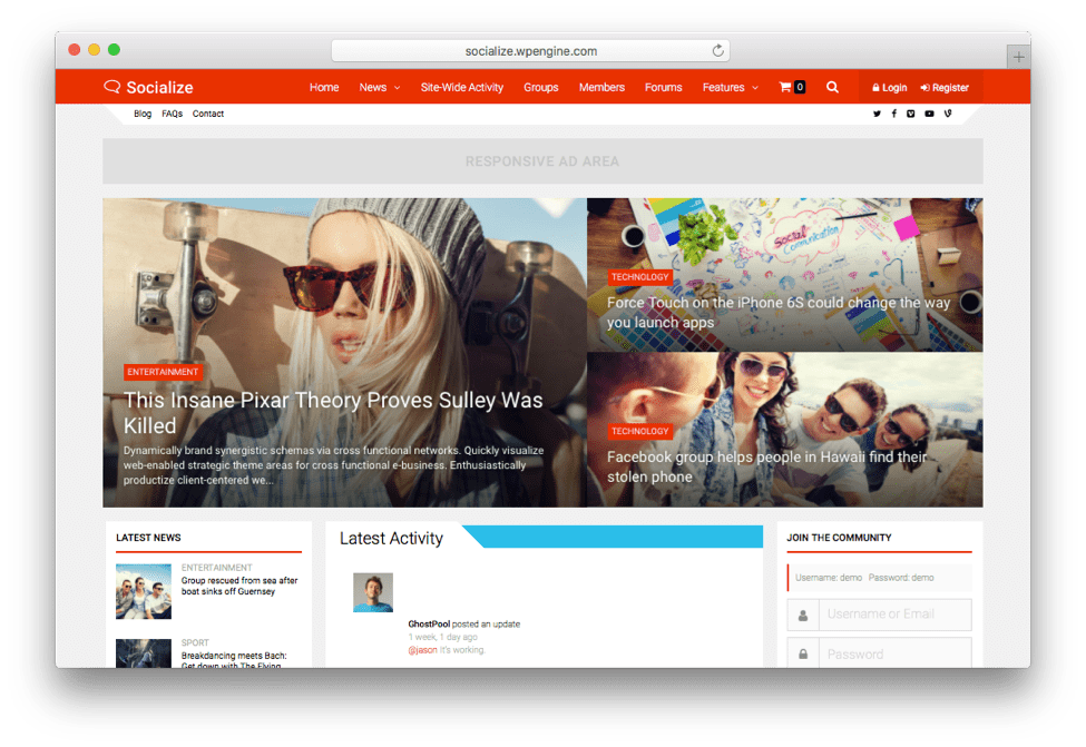 Socialize Multi-purpose BuddyPress Theme