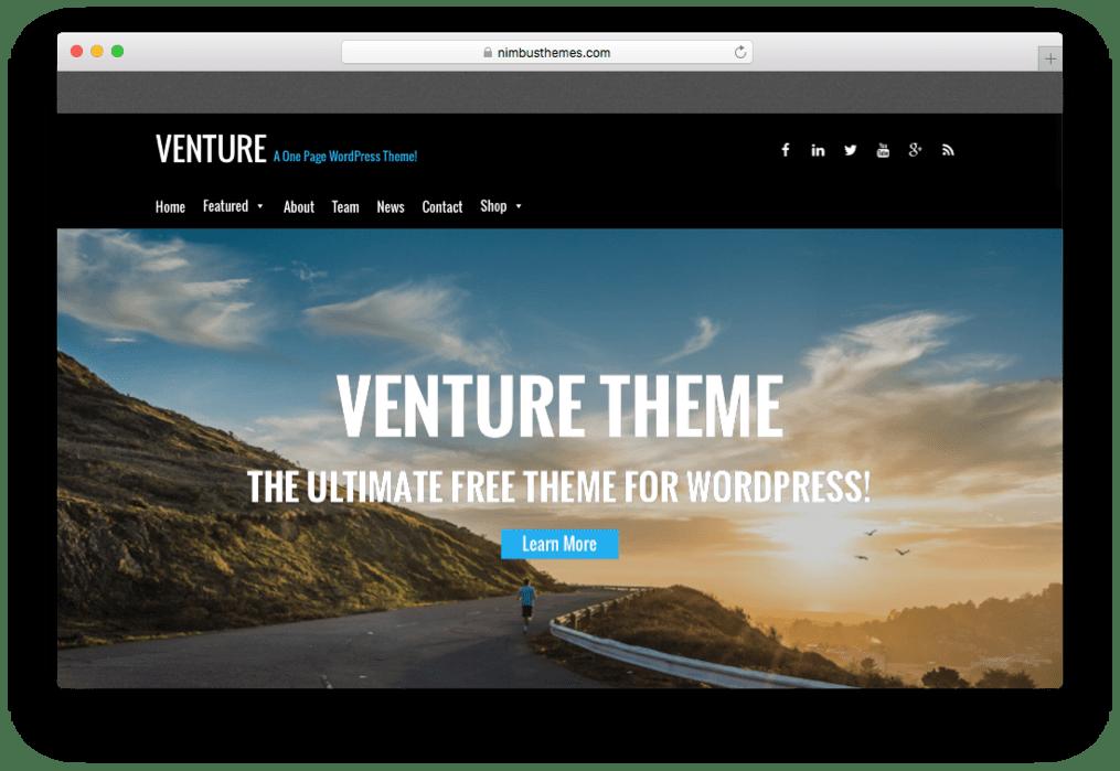 Venture One Page Parallax WordPress Theme