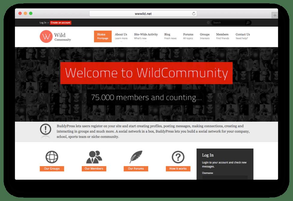WildCommunity WordPress Social Network Theme