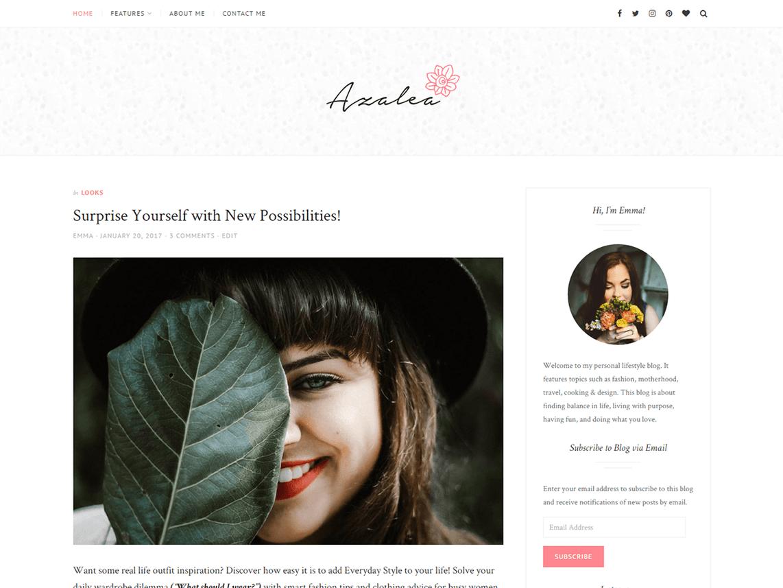 Azalea Free WordPress Lifestyle Blog Theme