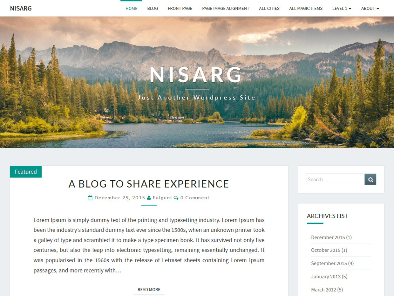 Nisarg Free WordPress Blogging Theme