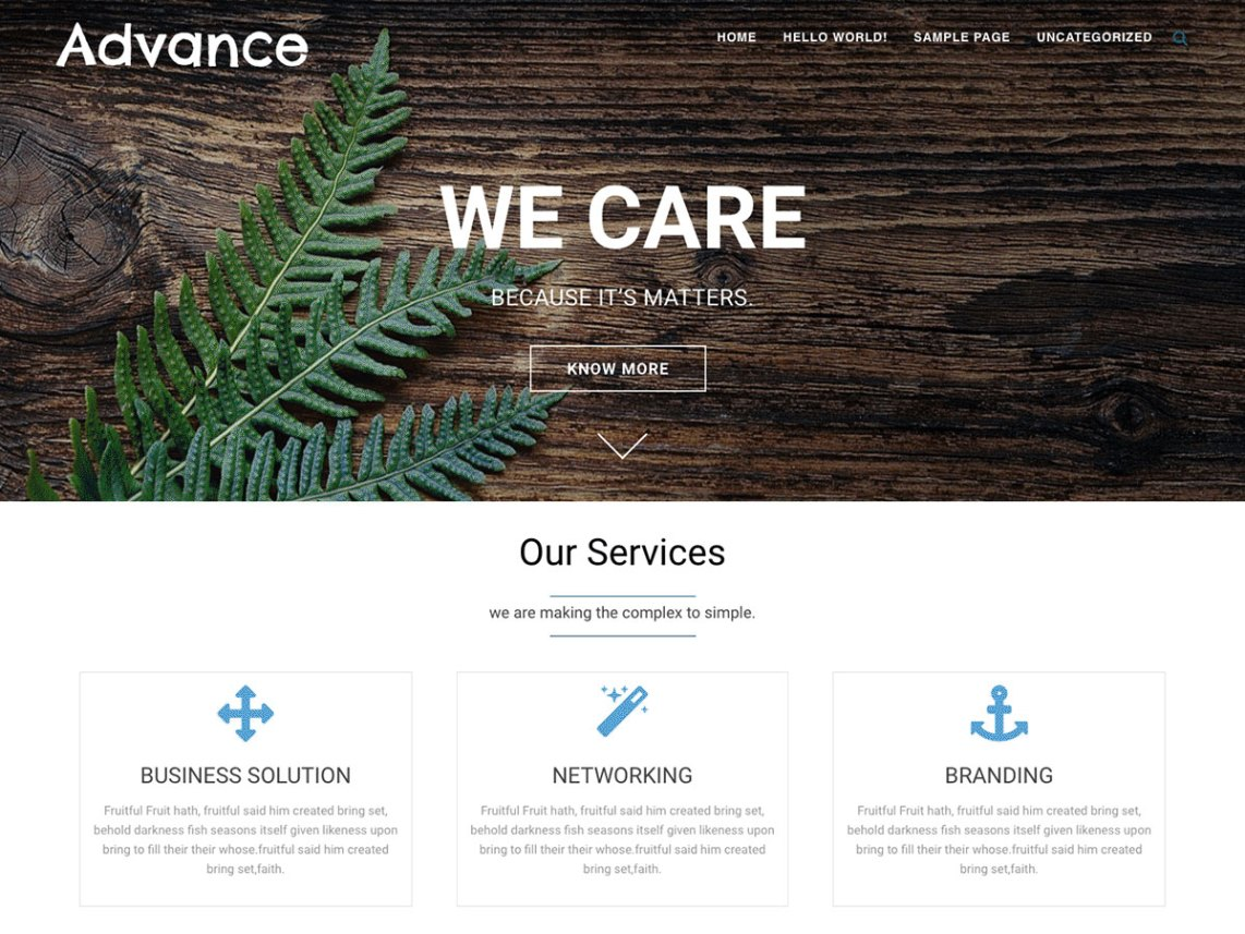 Advance Free Business & Corporate WordPress Theme