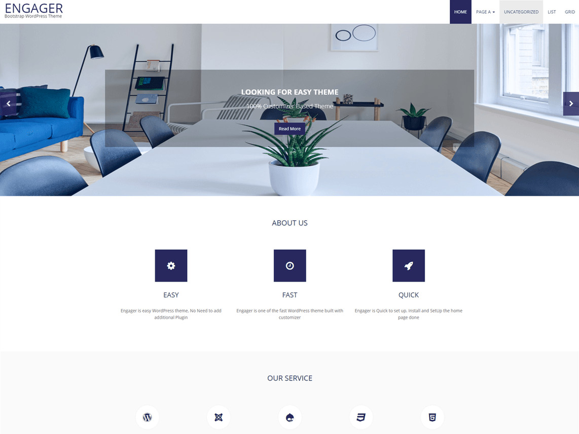 Engager Free WordPress Minimal Business Service Theme