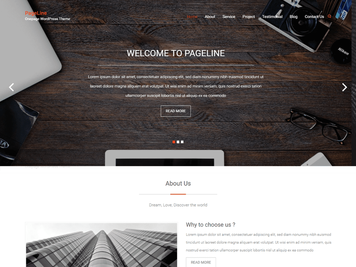 PageLine Free One Page Creative Business Theme