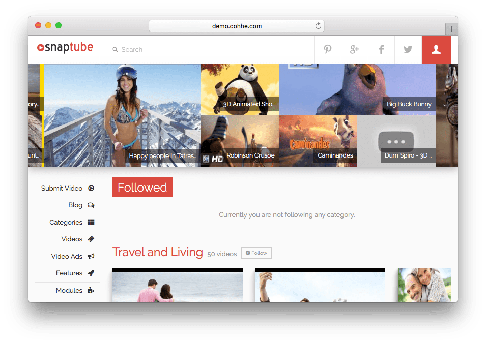 Snaptube WordPress Video Portal Theme