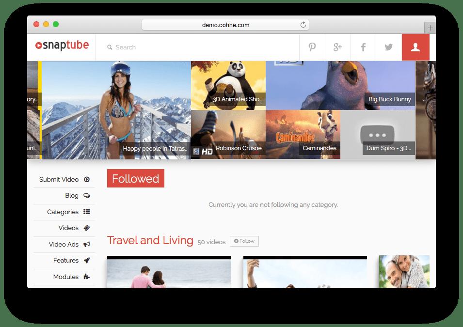 Snaptube WordPress Video Portal Theme