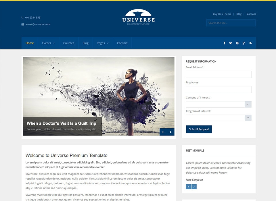 Universe WordPress Simple Education Theme