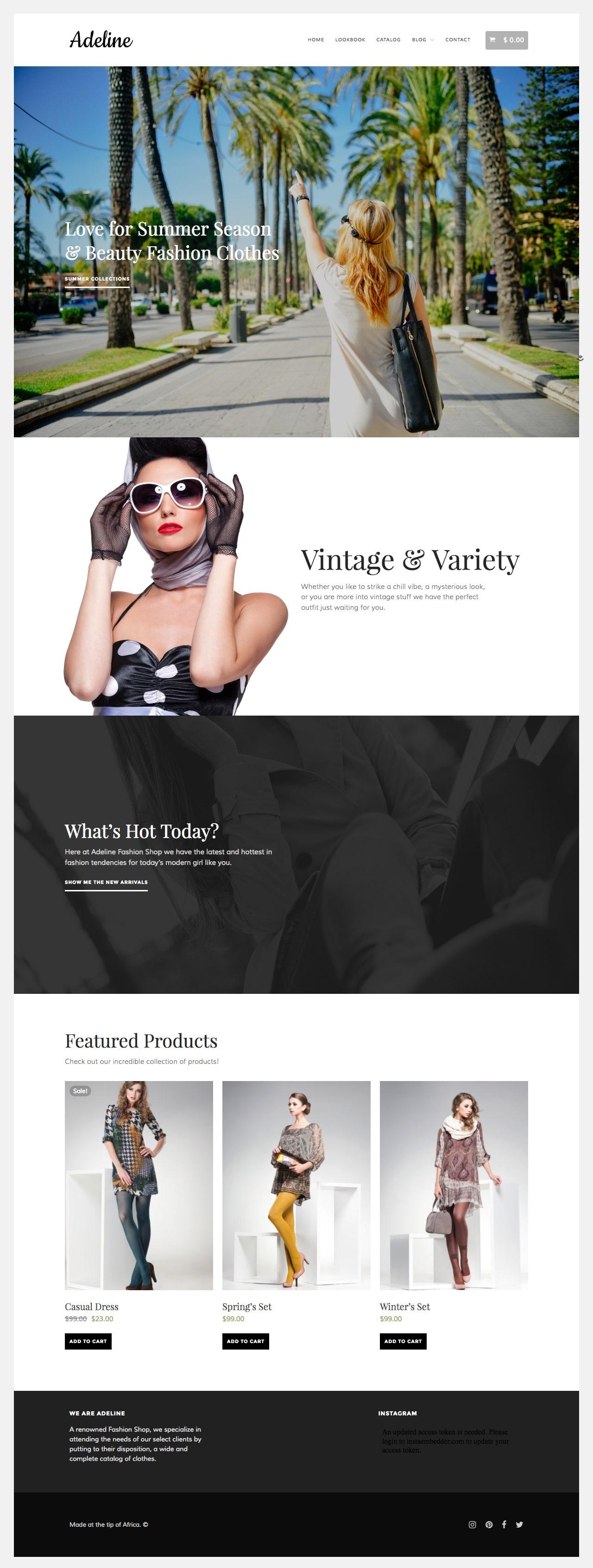 Adeline WordPress Fashion Clothing Theme