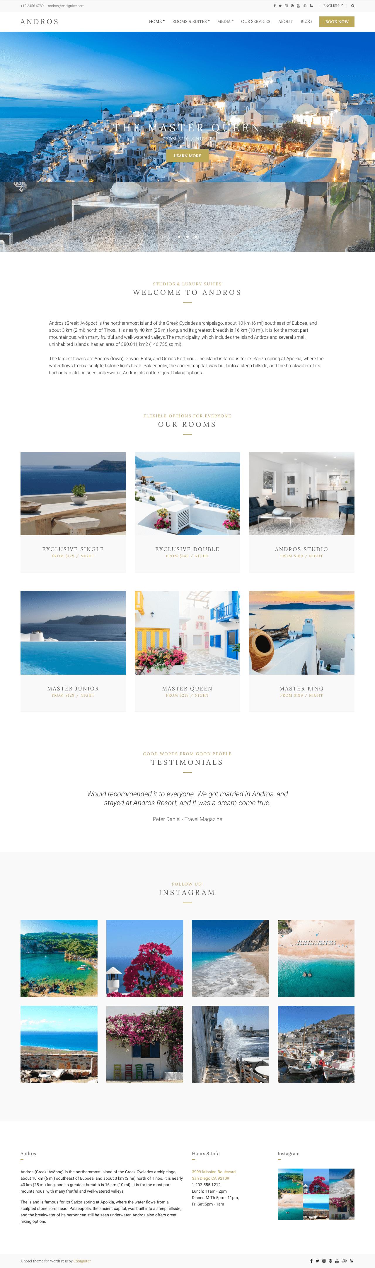 Andros responsive Hotel WordPress theme
